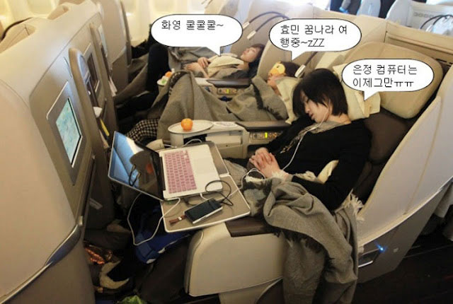 T-ara members sleeping on the plane